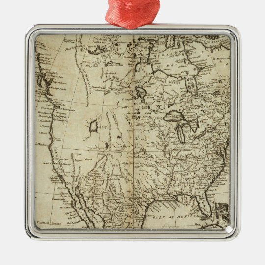 Map of North America Metal Ornament