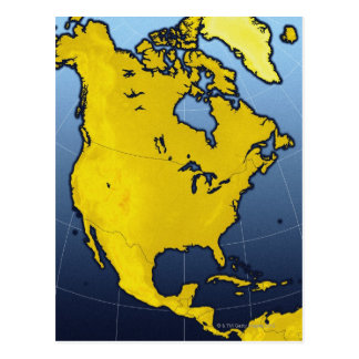 Map of North America Postcard