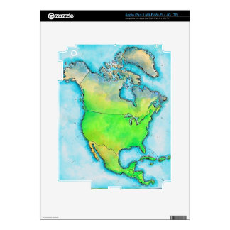 Map of North America Skins For iPad 3