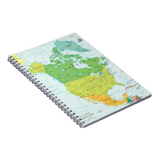 Map of North-America Spiral Notebook
