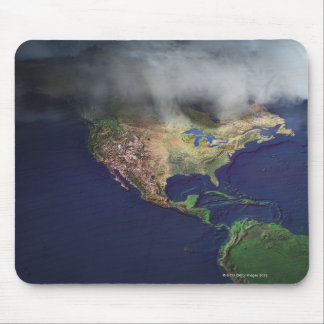Map of North America with fog Mouse Pad