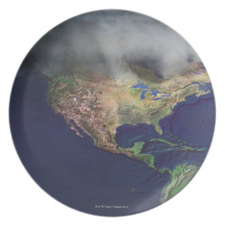 Map of North America with fog Dinner Plates