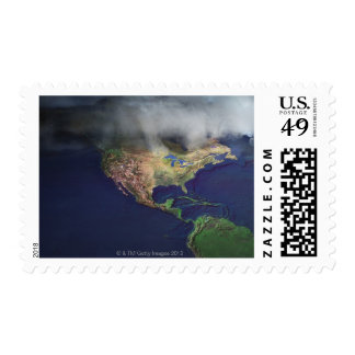 Map of North America with fog Postage