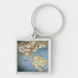 Map of North and South America Keychain