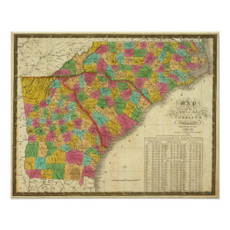 Map of North and South Carolina, and Georgia Poster