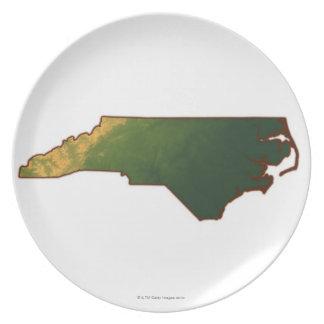 Map of North Carolina 2 Dinner Plates