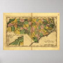 Map of North Carolina by Mathew Carey (1814) Poster