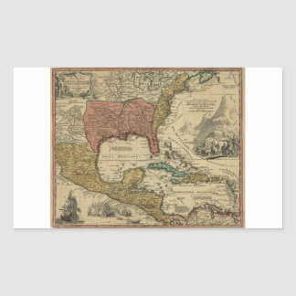 Map of North & Central America by J Homann (1759) Rectangular Sticker