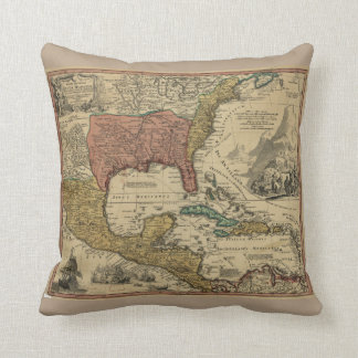 Map of North & Central America by J Homann (1759) Throw Pillow