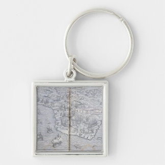 Map of North-eastern Brazil Silver-Colored Square Keychain