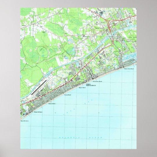 Map of North Myrtle Beach South Carolina (1990) Poster Map Ofsouth Myrtle Beach South Carolina on