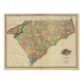 Map of North South Carolina Poster