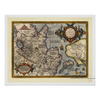Map of Northern Asia by Abraham Ortelius 1603 Poster