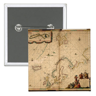 Map of Northern Europe 2 Inch Square Button