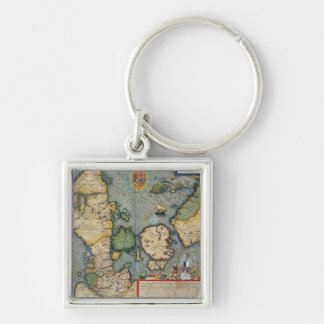 Map of Northern Europe, from 'Civitates Orbis Terr Silver-Colored Square Keychain