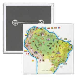 Map of Northern South America 2 Inch Square Button