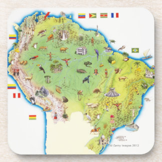 Map of Northern South America Drink Coaster