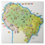 Map of Northern South America Large Square Tile