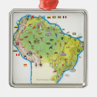 Map of Northern South America Metal Ornament