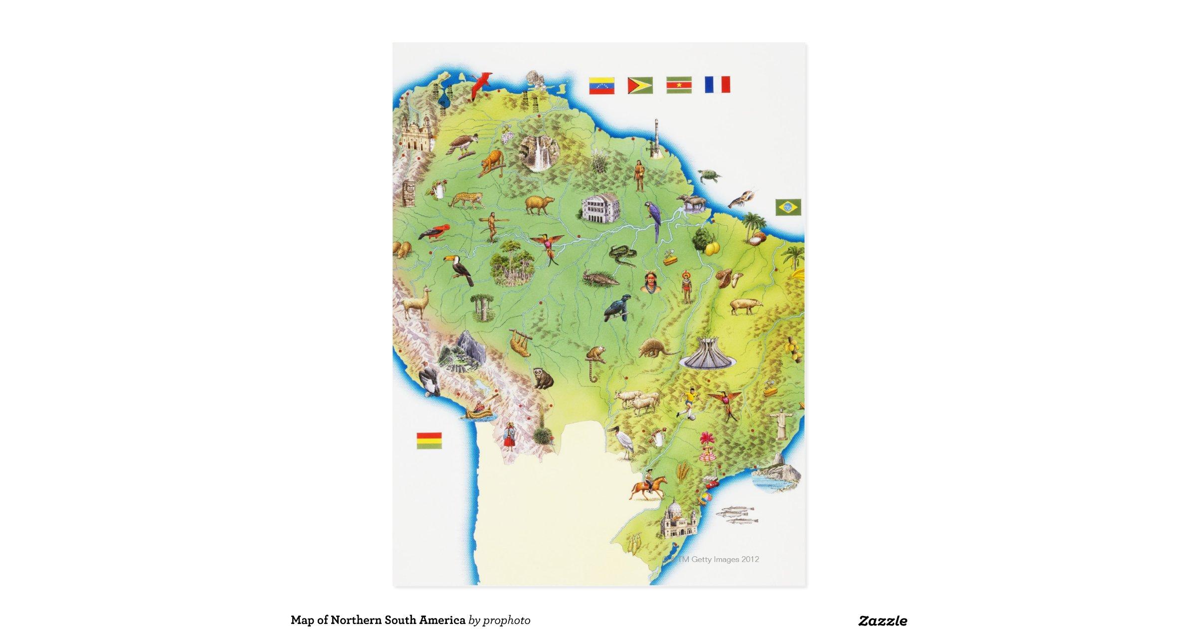 map of northern south america postcard rf40d8464cdcb482982d76359872d6ae8 vgba