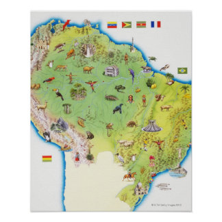 Map of Northern South America Poster