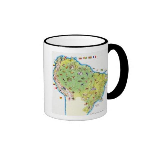 Map of Northern South America Ringer Coffee Mug
