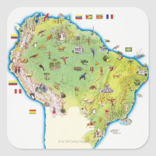 Map of Northern South America Square Sticker
