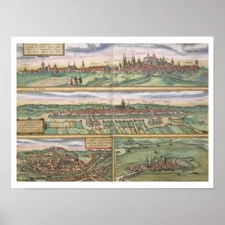 Map of Nuremberg, Ulm, and Saltzburg, from 'Civita Poster