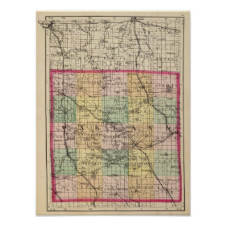 Map of Oakland County, Michigan Poster