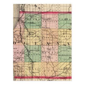 Map of Oceana County, Michigan Postcard