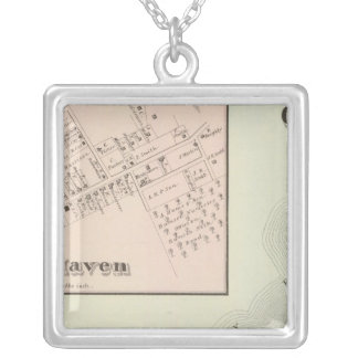 Map of Oceanic and Fair Haven, NJ Square Pendant Necklace