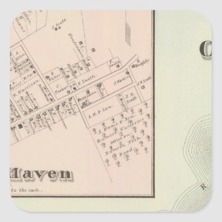 Map of Oceanic and Fair Haven, NJ Square Sticker