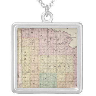 Map of Oconto County northern part Silver Plated Necklace