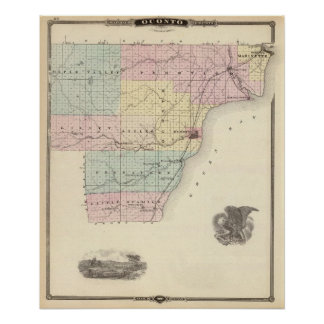 Map of Oconto County southern part Poster