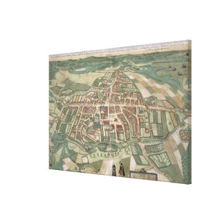 Map of Odense, from 'Civitates Orbis Terrarum' by Canvas Print
