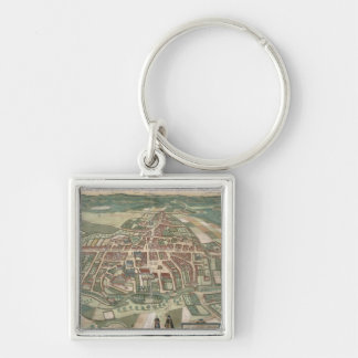 Map of Odense, from 'Civitates Orbis Terrarum' by Silver-Colored Square Keychain