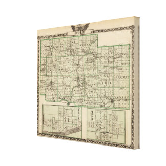 Map of Ogle County, Polo and Oregon Canvas Print