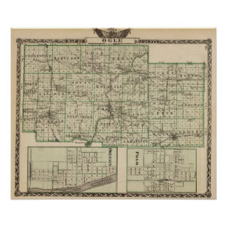 Map of Ogle County, Polo and Oregon Poster