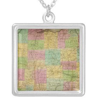 Map of Ohio 2 Square Pendant Necklace