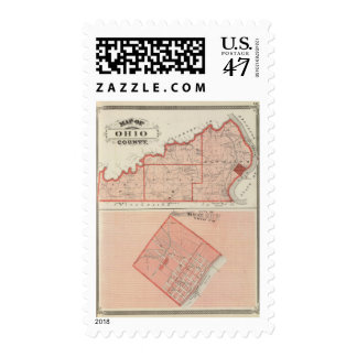 Map of Ohio County with City of Rising Sun Postage