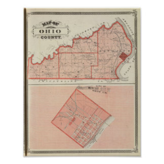 Map of Ohio County with City of Rising Sun Poster