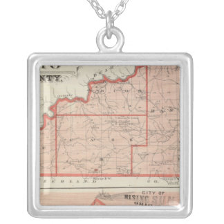 Map of Ohio County with City of Rising Sun Silver Plated Necklace