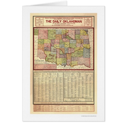 Map of Oklahoma and Indian Territory 1905 Card
