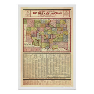 Map of Oklahoma and Indian Territory 1905 Poster