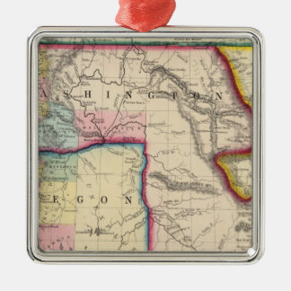 Map Of Oregon, Washington Metal Ornament