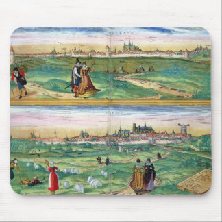 Map of Orleans and Bourges, from 'Civitates Orbis Mouse Pad