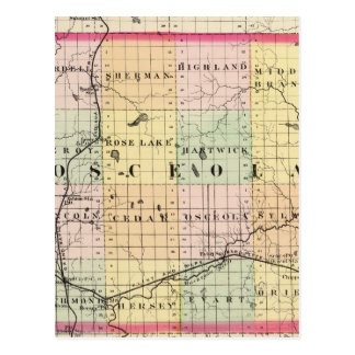 Map of Osceola County, Michigan Postcard