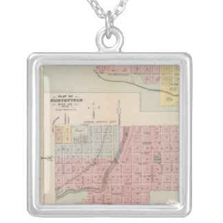 Map of Owatonna, Map of Mantorville, Minnesota Square Pendant Necklace