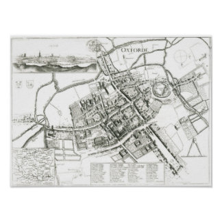 Map of Oxford, 1643 Poster
