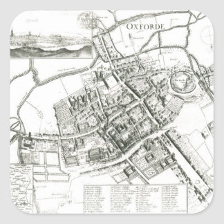 Map of Oxford, 1643 Square Sticker